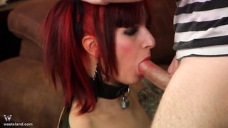 Obedient redhead whore deepthroating a bbc